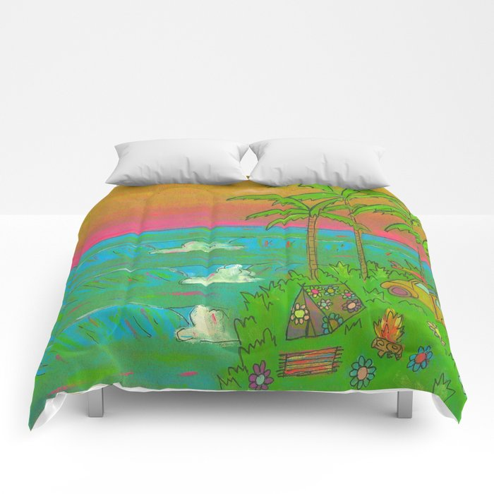 VW Beatle Bug Surf Paradise Adventure Comforters