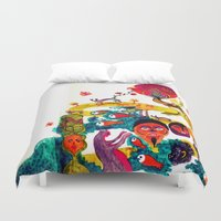 swim Duvet Covers featuring swim swim swim away by Lavinia Barna