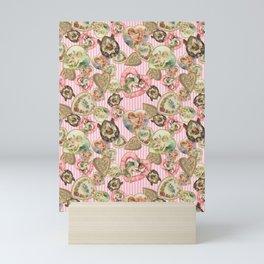Victorian Romantic  Heart Frames Toss in Vintage Pink + White Striped Paper Mini Art Print