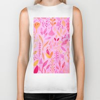 flora Biker Tanks featuring Flora by messy bed studio