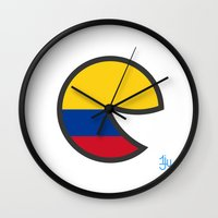 colombia Wall Clocks featuring Colombia Smile by onejyoo