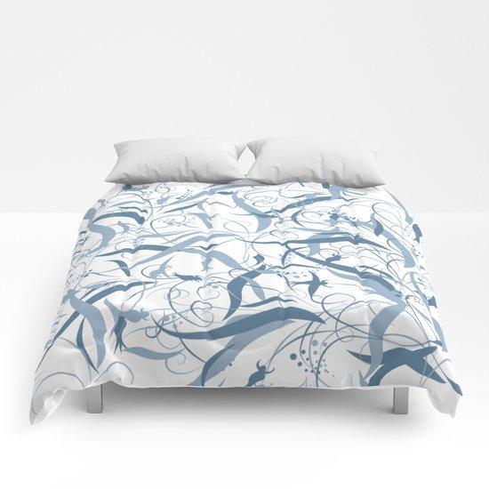 Elegant Blue Floral Leaf Scroll Pattern Comforters