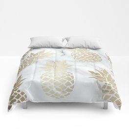 Tropical Pineapple, Marble and Gold Abstract Pattern Comforters