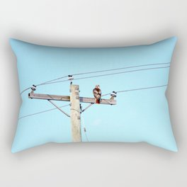 Red Tailed Hawk on Pole Rectangular Pillow