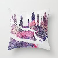 new york map Throw Pillows featuring New York Skyline + Map by Map Map Maps