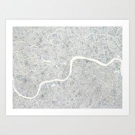 City Map London watercolor map Art Print