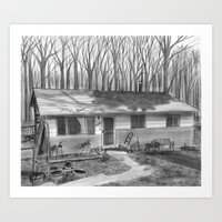 Old House - Black and White Digital Painting  Art Print