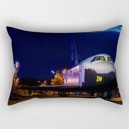 Soviet Space Shuttle Mockup In Gorky Park At Winter Night Rectangular Pillow