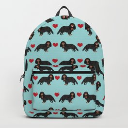 Cavalier King Charles Spaniel black and tan valentines day love hearts dog breed patterns gifts Backpack