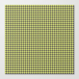 Yellow Grey Houndstooth Pattern Canvas Print