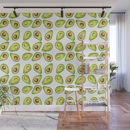 Watercolor Painting Green Avocado Pattern Wall Mural