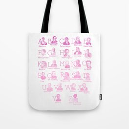 Alphabet of Literary Greats - Pink Tote Bag