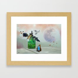 Green Bottle and Insects by GEN Z Framed Art Print