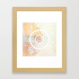 Ukatasana white mandala on pink Framed Art Print