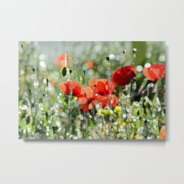 Poppy Mosaic Metal Print