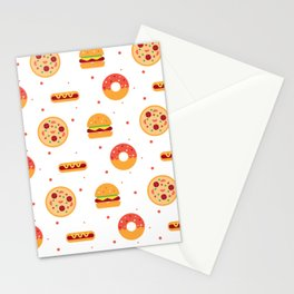 Pizza Pies, Cheeseburgers, Hot Dogs, and Donuts Pattern Stationery Cards