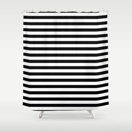 Narrow Horizontal Stripe: Black and White Shower Curtain