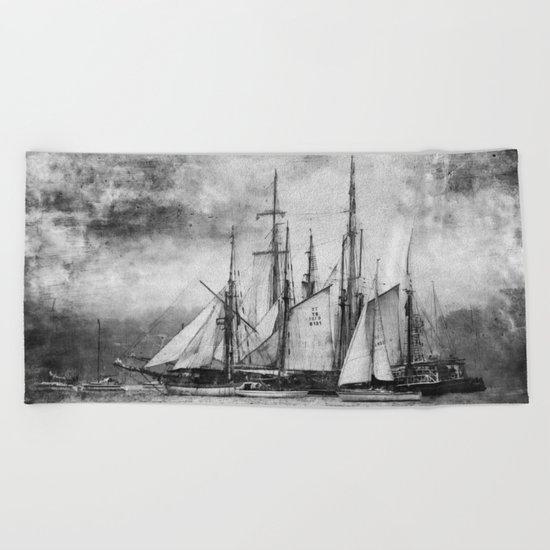 black and white ship Beach Towel