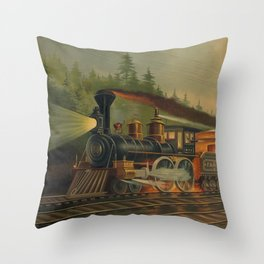 Night Scene on the NY Central Railroad (Currier & Ives) Throw Pillow