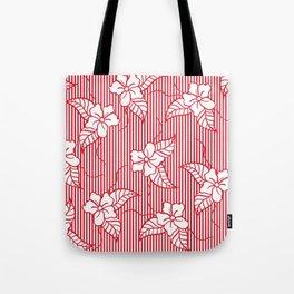 Fashion red flame scarlet white floral hand drawn geometric stripes pattern Tote Bag