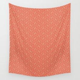 Orange Auspicious Sayagata Japanese Kimono Pattern Wall Tapestry