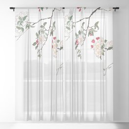 pink cherry blossom Japanese woodblock prints style Sheer Curtain