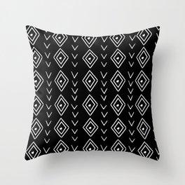 mudcloth 8 minimal textured black and white pattern home decor minimalist Throw Pillow