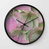 vintage flowers Wall Clocks featuring Vintage Flowers by Caroline Benzies Photography