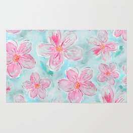 Hand painted teal fuchsia watercolor floral Rug
