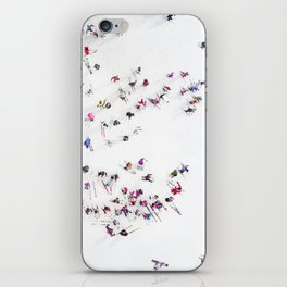 Aerial view of skiers iPhone Skin