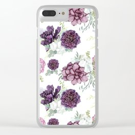 Succulents Deep Violet Lavender Pastel Green Lilac PatternSee Nature Magick for more pretty pastel c Clear iPhone Case