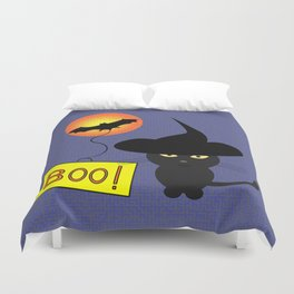 Cute cat trying to be scary for Halloween Duvet Cover
