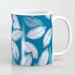 Beautiful Elegant Blue Leaf Pattern Coffee Mug