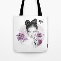 arya stark Tote Bags featuring Arya by Nevertheless