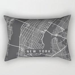 New York City Map, Manhattan New York USA - Charcoal Portrait Rectangular Pillow