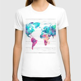 World Map Watercolor Paint on White Wood T-shirt