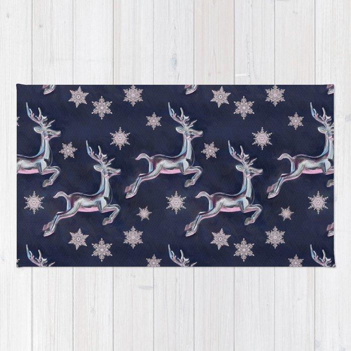 Silver Snowflakes & Happy Reindeer in Navy Blue & Pink Rug