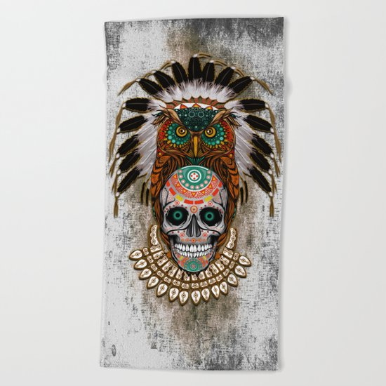 indian native Owl sugar Skull iPhone 4 4s 5 5c 6 7, ipod, ipad, pillow case Beach Towel