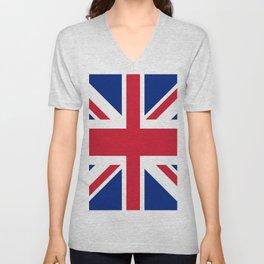 red white and blue trendy london fashion UK flag union jack Unisex V-Neck