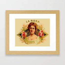Vintage Cigar Box Art - La Rosa Framed Art Print