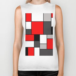 Red Black and Grey squares Biker Tank