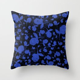 Dark Blue Floral Blooms on Black Throw Pillow