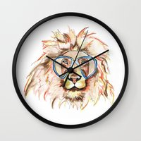 scuba Wall Clocks featuring Scuba Lion by Kristen Williams
