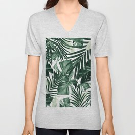 Tropical Jungle Leaves Pattern #4 #tropical #decor #art #society6 Unisex V-Neck