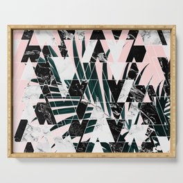 Modern geometric triangles black white abstract marble pattern palm tree leaf pink ombre Serving Tray