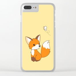 Cute Little Fox Watching Butterly Clear iPhone Case