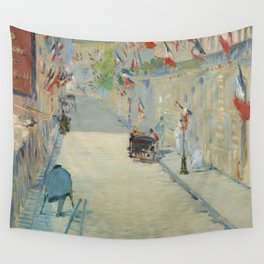 Manet, The Rue Mosnier with Flags Wall Tapestry