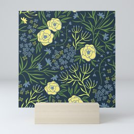 Elegant Boho Chic Mint Green Yellow Rose Navy Blue Dark Floral  Mini Art Print