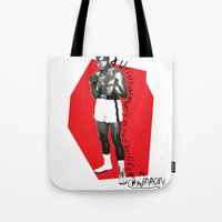 ali Tote Bags featuring Ali by Dayle Kornely