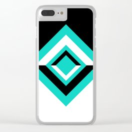 Teal Black and White Diamond Shapes Digital Illustration - Artwork Clear iPhone Case
